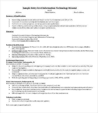 IT Resume - 8+ Free Word, PDF Documents Download | Free & Premium ...