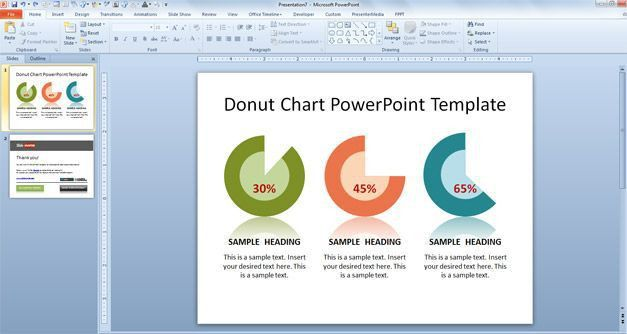 Free Donut Chart PowerPoint Template