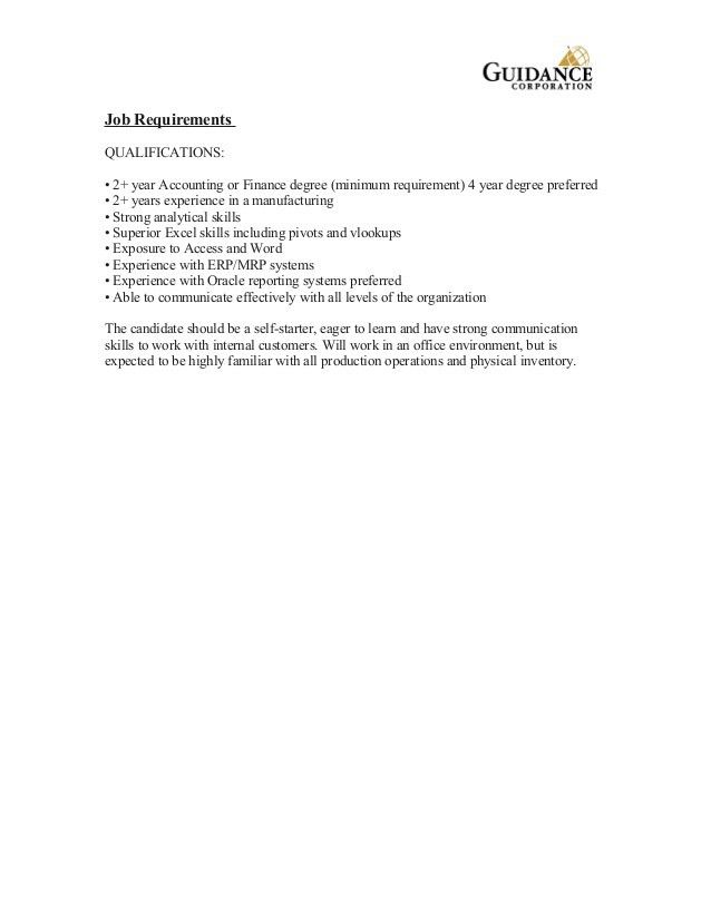 Cost Analyst Job Description