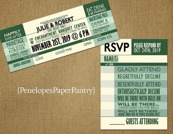 Concert Ticket Theme Wedding InvitationsMusic