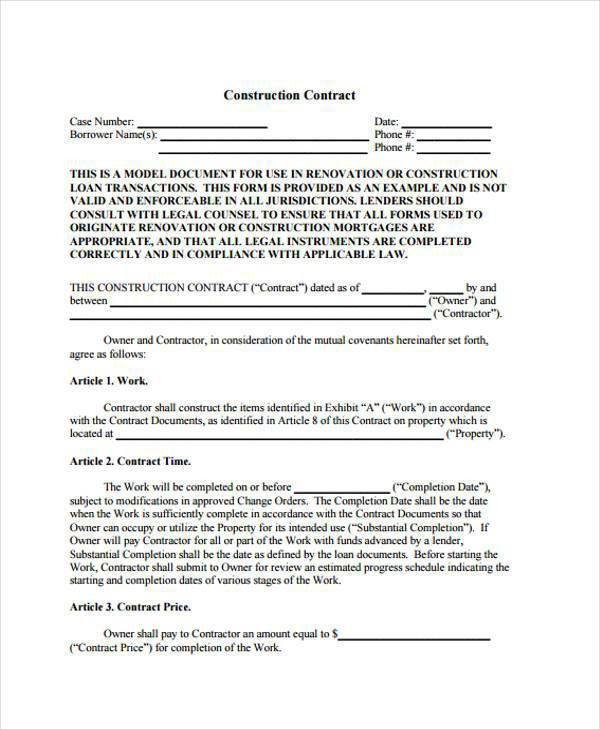 8+ Construction Contract Form Samples   Free Sample, Example .