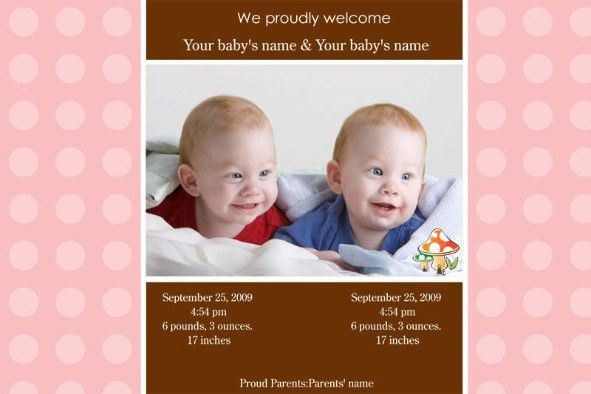 Free photo templates - Twins Baby Birth Announcement Series 2