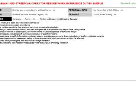 Subway Duties Resume - Reentrycorps