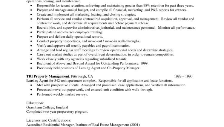 property manager resume job description Sample Property Manager ...