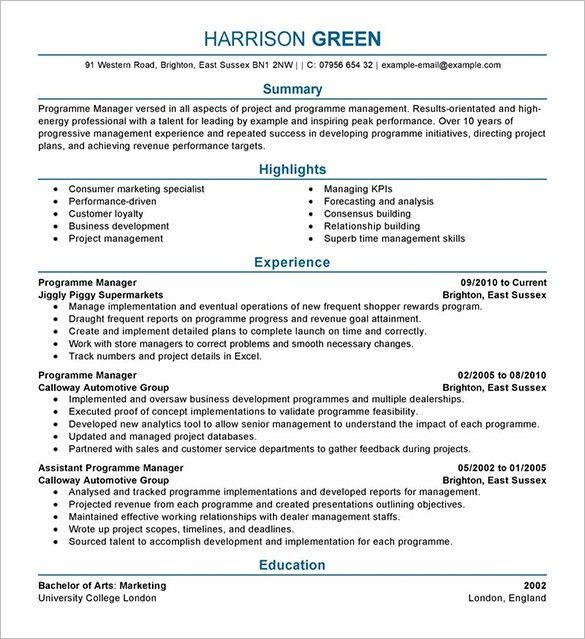 Manager Resume Example. Extraordinary Design Ideas General Manager ...