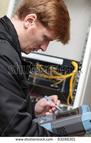 Network Technician Connecting Fiber Optic Server Stock Photo ...