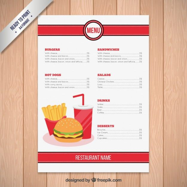 Fast Food Restaurant Menu Template Vector | Free Download