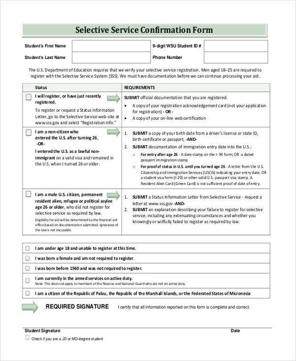 Selective Service Registration Form. New Student Registration Form ...