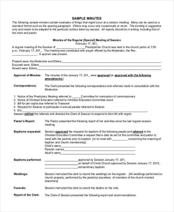 Church Meeting Minutes Templates | Free & Premium Templates