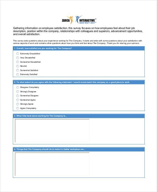 Sample staff satisfaction survey Form - 6+ Free Documents in PDF