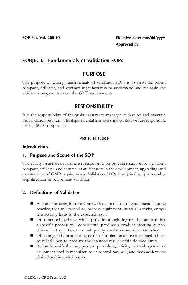 Validation standard-operating-procedures