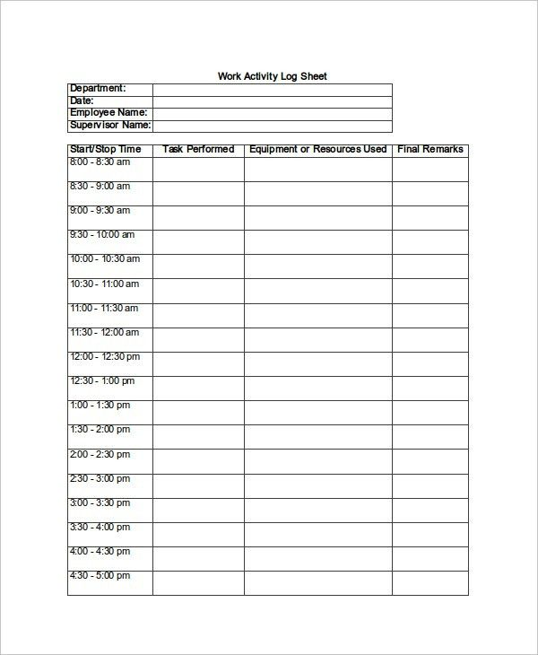 Log Sheet Template – 10+ Free Word, Excel, PDF Documents Download ...