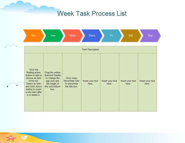 Example of Week Task Process List