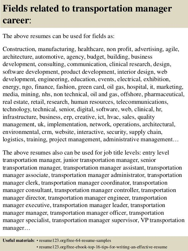 Top 8 transportation manager resume samples