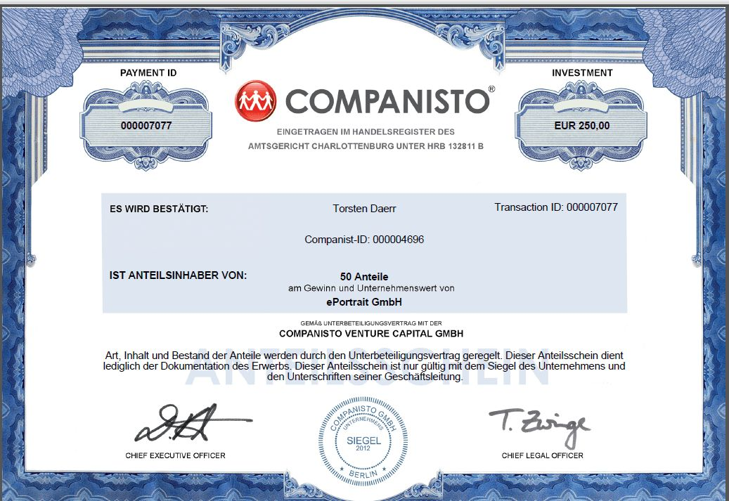 Companisto Equity Share Certificate | English-Team Blog