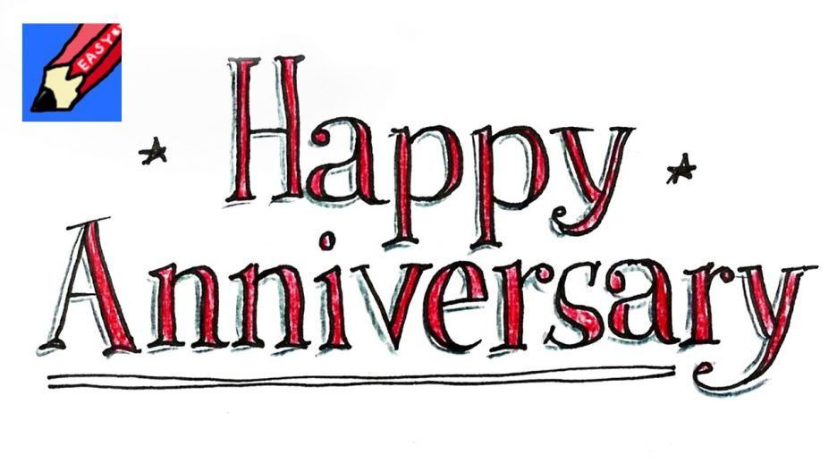 Hand Draw Happy Anniversary Card Pictures. Anniversary. Happy Work ...