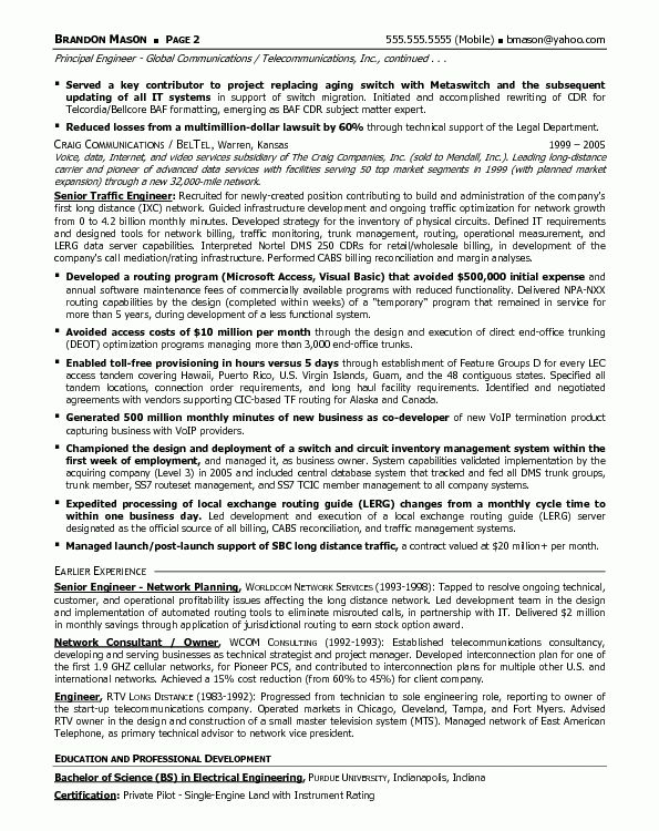 Resume Sample 13 - Senior Telecommunications Engineering ...