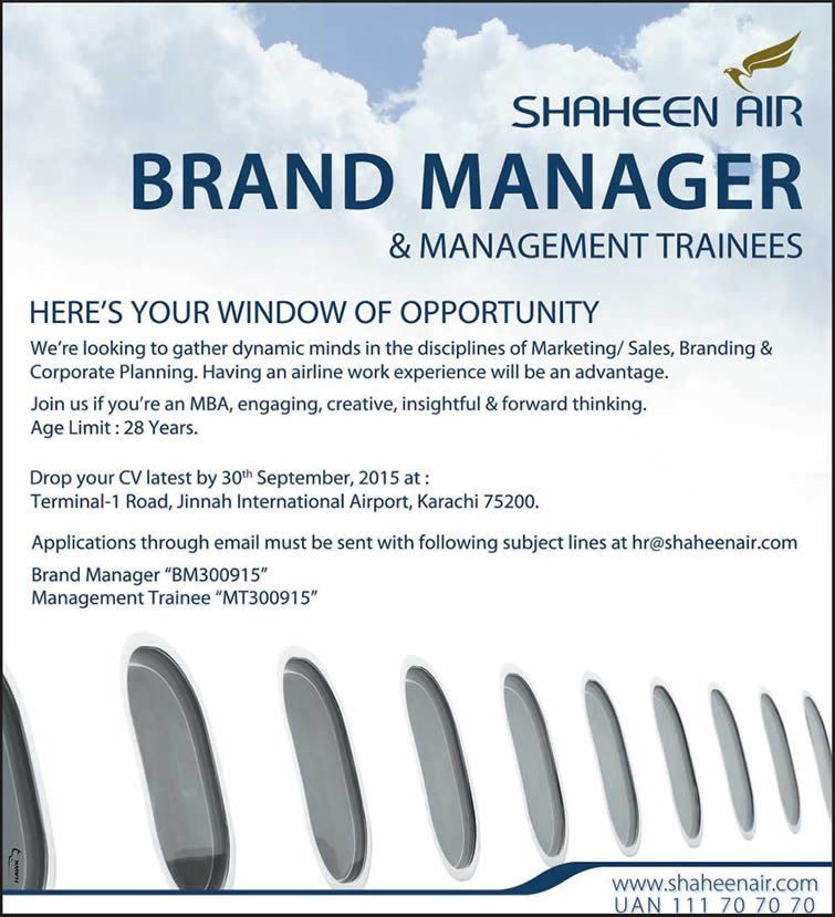 Shaheen Airline Jobs September 2015 Brand Manager & Management ...