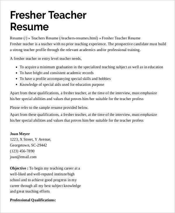 Sample Resume For Teachers Entry Level. Resume. Ixiplay Free ...
