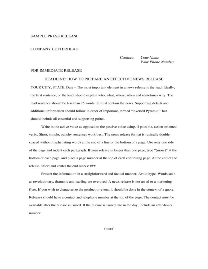 Sample Immediate Press Release Free Download