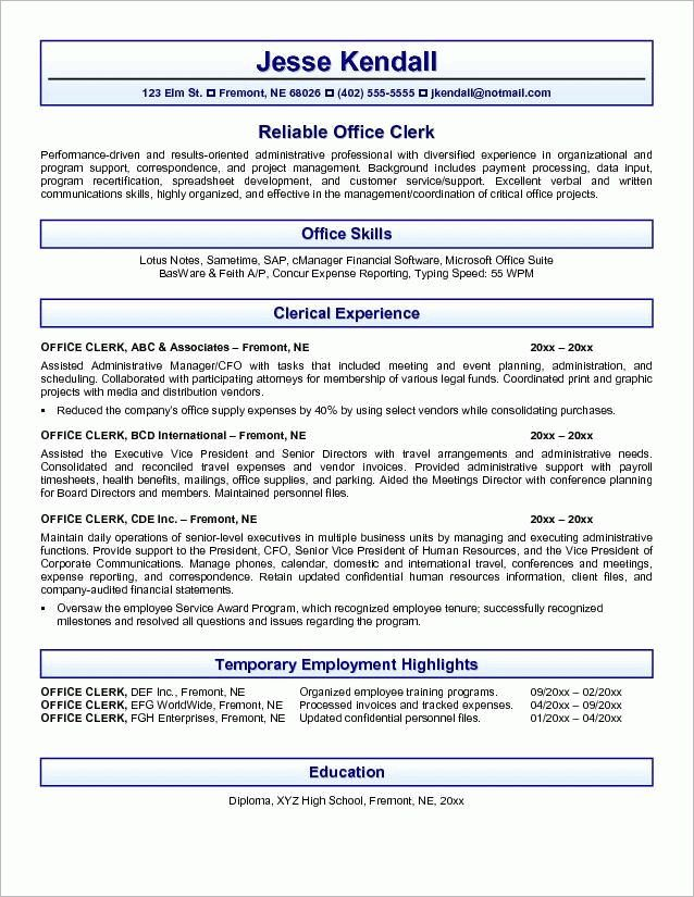 15+ Excellent Mailroom Clerk Resume Samples : Vinodomia