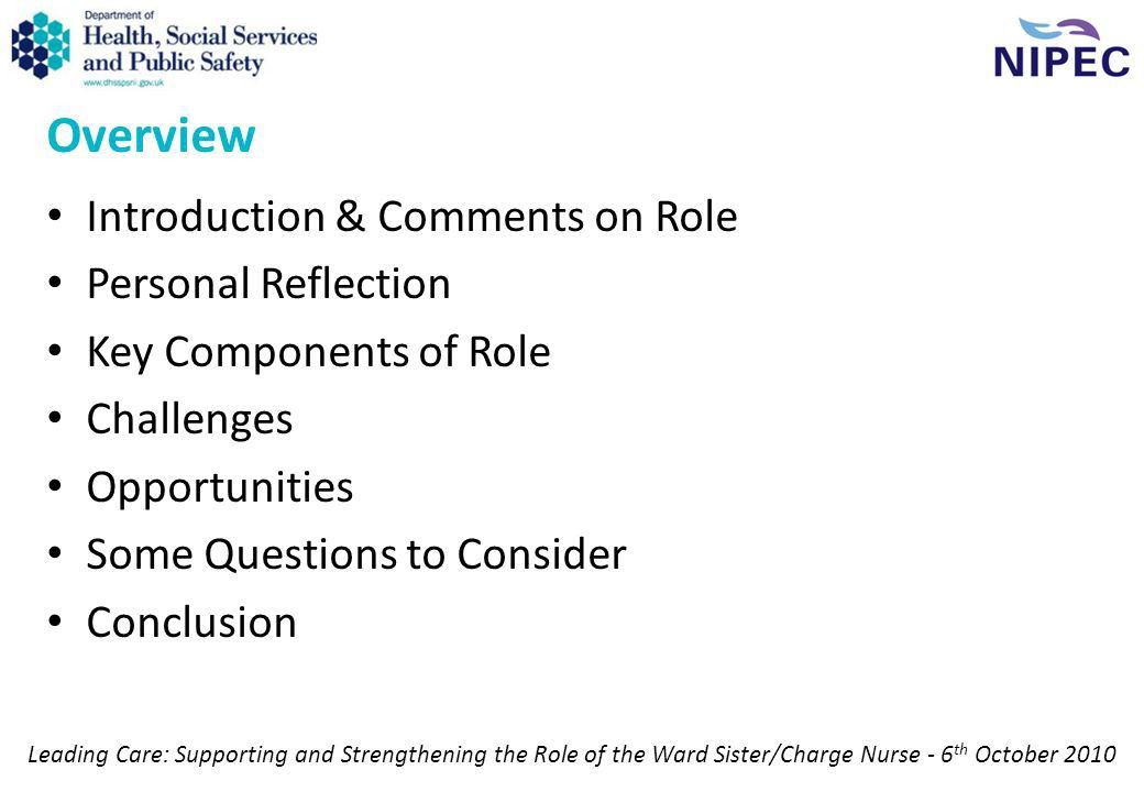 The Important Role of Ward Sisters / Charge Nurses in HSC Trusts ...