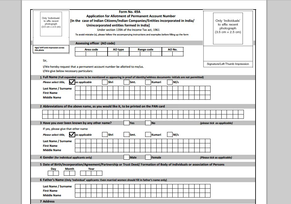 Steps to Download online Pan Card Application form