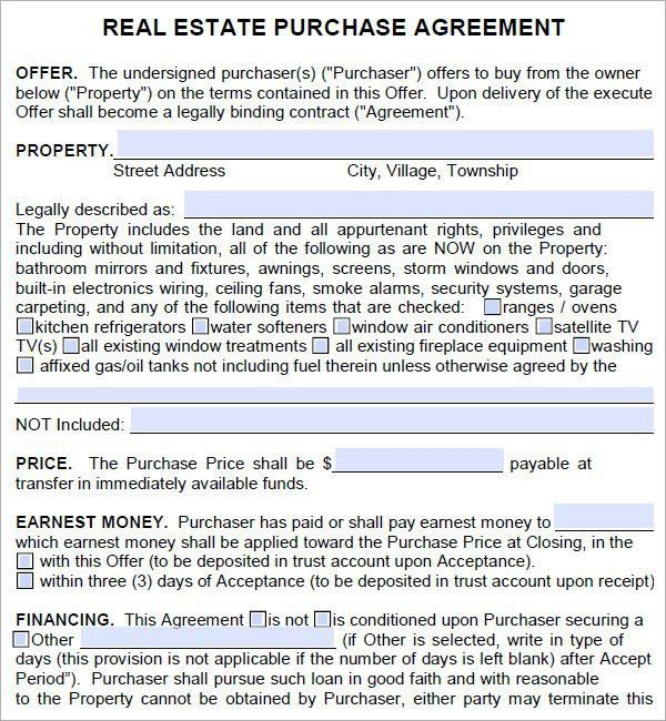 10 Best Images of Real Estate Purchase Agreement Form Template ...