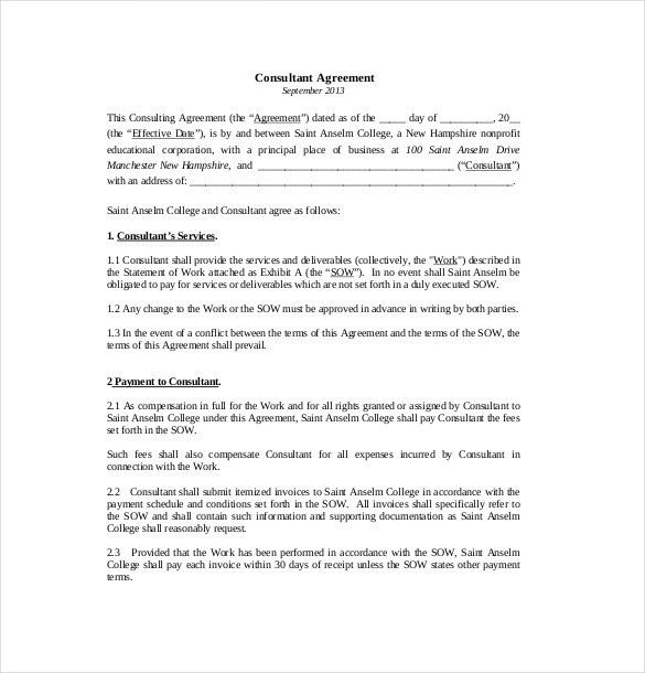10+ Consultant Agreement Templates – Free Sample, Example, Format ...