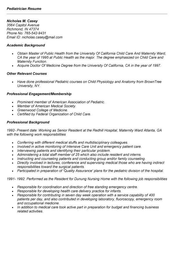 Pediatric Home Health Nurse Resume Pediatric Nurse Job Description ...