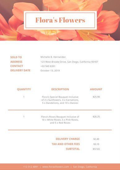 Beige Brown Vintage Floral Invoice - Templates by Canva