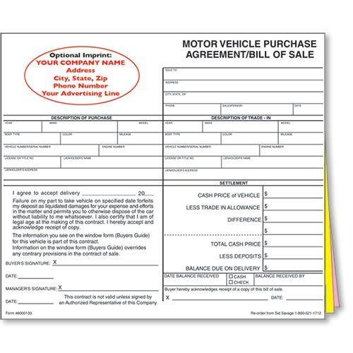 Car Dealer Bill of Sale, Imprinted Dealer Forms, Car Bill of Sale ...