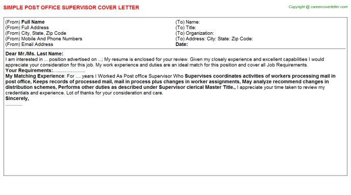 Cover Letter For Post Office Job