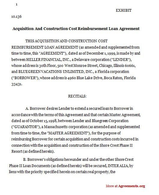Sample Construction Loan Agreement. Equipment Loan Contract Form ...