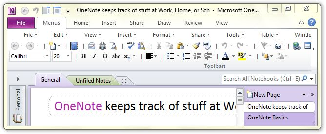 Where is Templates in Microsoft OneNote 2010, 2013 and 2016