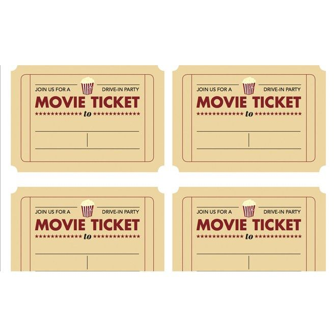 Printable movie ticket invitation from Today's Parent | Kid's ...