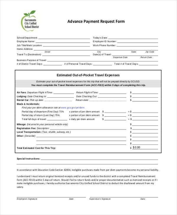 Sample Employee Advance Request Forms - 7+ Free Documents in Word, PDF