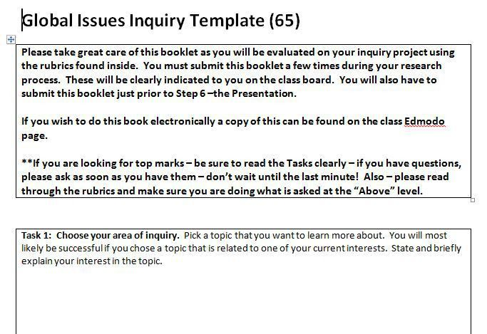 TOOL: Global Issues Inquiry Template – TAKE ACTION
