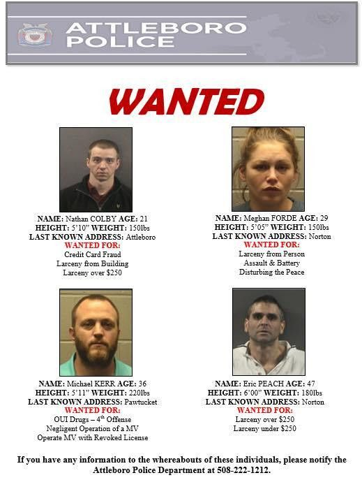 Attleboro Police Department Wanted: Each Person Has an Active ...