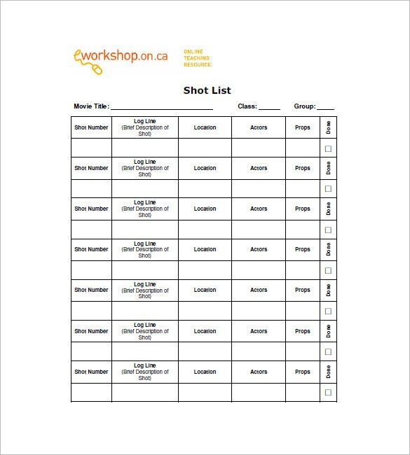 Shot List Template - 12+ Free Sample, Example, Format | Free ...