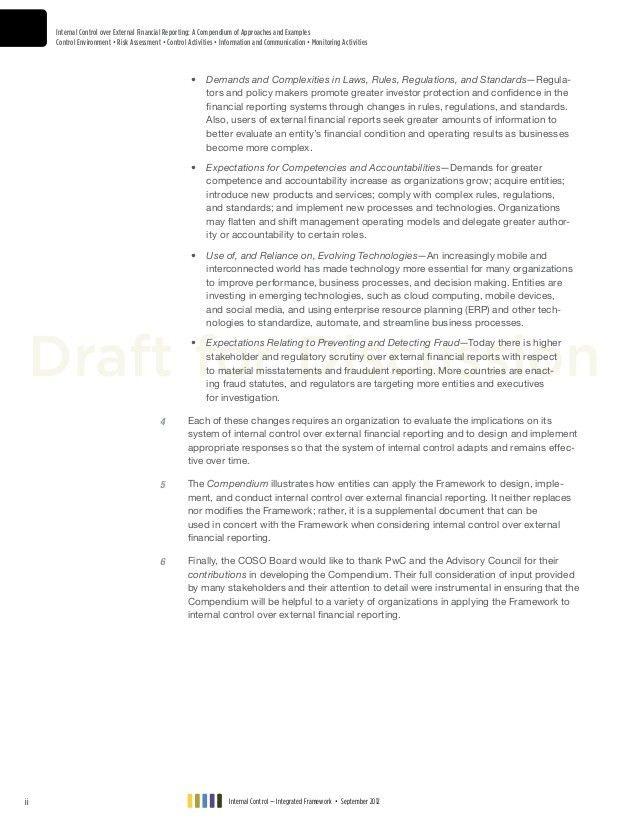 Coso internal control integrated framework internal control over ex…