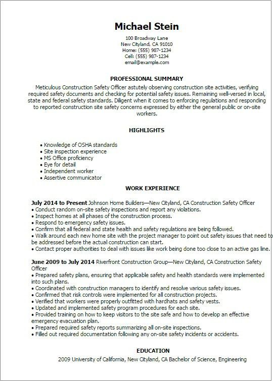 Marvellous Health Safety Manager Resume Sample with safety manager ...