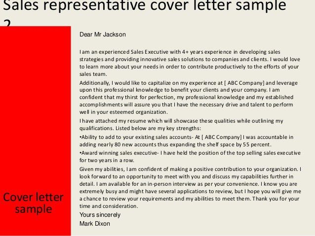 Sales representative cover letter
