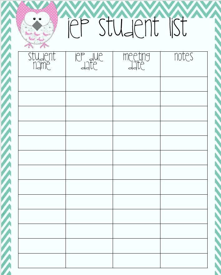 IEP Student List...super cute, probably not necessary. But I do ...
