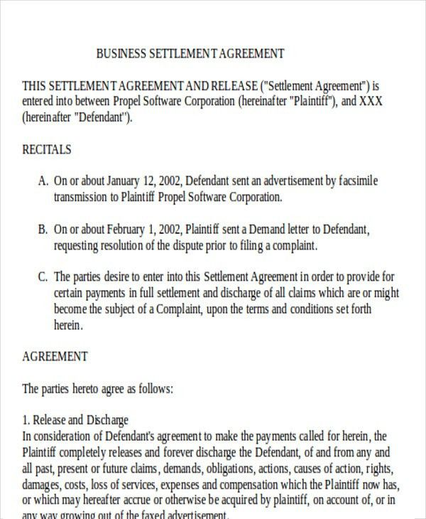8+ Settlement Agreement Sample Examples in Word, PDF