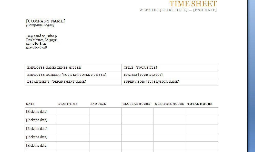 Timesheet Template | Timesheet Excel Templates