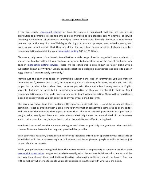 COVER LETTER sample inside Manuscript Cover Letter - My Document Blog