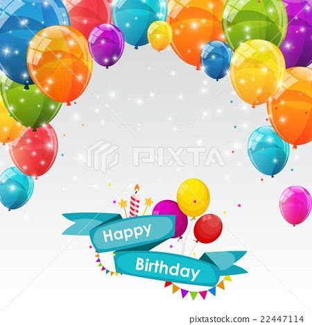 Happy Birthday Card Template with Balloons Vector - Stock ...