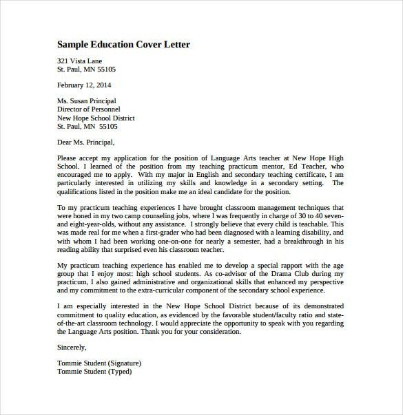 sample cover letter for teaching cover letter sample teaching ...