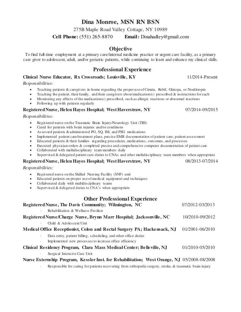 dina monroe FNP resume